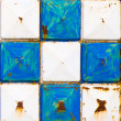 Texture rusty white and blue squares — Stock Photo