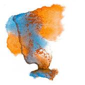 青いオレンジ スポット分離された水彩画をしみ — ストック写真