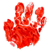 Red hand print baby man isolated on white background — Foto de Stock