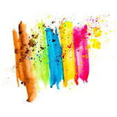 Spot blue rainbow blue green yellow red brown watercolor blotch — Stock Photo
