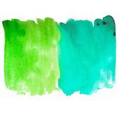 Acquerello pennellate texture verde e blu, sfondo per — Foto Stock