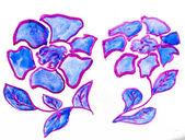 Abstrato azul roxo floral flores em aquarela pintura imagens iso — Foto Stock