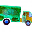Royalty-Free Stock Photo: Car truck green watercolor illustration isolated on white backgr