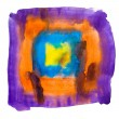 Purple blue yellow orange watercolors spot blotch isolated — Stock Photo