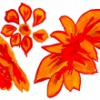 Abstract yellow red orange floral watercolor flowers paint pictu - Photo