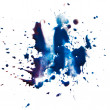 Stock Photo: Blue blot stain smear watercolor paint isolated on white backgro