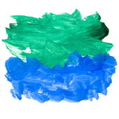 Spot blue green watercolor blotch texture isolated white backgro — Stock Photo