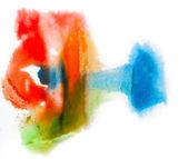 水彩ブラシ青赤い緑抽象黄色アート芸術 iso — ストック写真