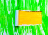 Yellow green torn paper texture watercolor with space for your — Stock Photo