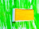żółty zielony papier rozdarty akwarela tekstury z miejsca dla swojego — Zdjęcie stockowe
