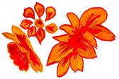 Soyut sarı kırmızı turuncu çiçek suluboya çiçek boya bizdeki — Stok fotoğraf