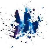 Blue blot stain smear watercolor paint isolated on white backgro — Stock Photo