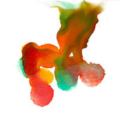Watercolor strokes orange yellow sketch abstract stain isolated — Stock Photo