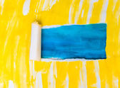 Yellow blue torn paper texture watercolor with space for your m — Stock Photo