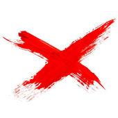 Farba krzyż znak atrament szczotka udar barwnik czerwony szczotka tekstura watercol — Zdjęcie stockowe
