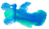 Color spot blue green light macro blotch texture isolated white — Stock Photo