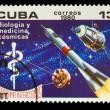 CUBA - CIRCA 1980: A stamp printed in CUBA, Intercosmos program, — Stock Photo