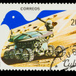 CUBA - CIRCA 1982: A stamp printed in CUBA, peaceful use of oute - Stock Photo