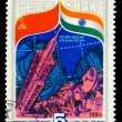 USSR- CIRCA 1984: A stamp printed in USSR, Space cooperation in — Stock Photo