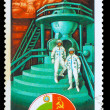 USSR - CIRCA 1979: a stamp printed by USSR, International space — Stock Photo