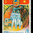USSR - CIRCA 1980: A stamp printed in USSR, International flight — Stock Photo