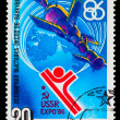 USSR- CIRCA 1986: A stamp printed in USSR, satellite &quot;Soyuz&quot; and - Stock Photo