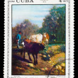 "CUBA - CIRCA 1973: stamp printed by CUBA, shows C. Troyon ""regre — Stock Photo"