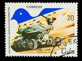 CUBA - CIRCA 1982: A stamp printed in CUBA, peaceful use of oute — Foto de Stock