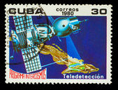 CUBA - CIRCA 1980: A stamp printed in CUBA, Intercosmos program, — Foto de Stock