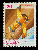 "CUBA - CIRCA 1983: stamp printed by CUBA, shows ""soyuz"" satellit — Stock Photo"