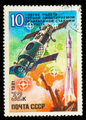 USSR- CIRCA 1981 stamp printed in USSR, Start off spaceship SOYU — Stock Photo