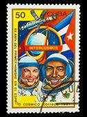 CUBA - CIRCA 1981: A stamp printed in CUBA, 20th anniversary fir — Stock fotografie