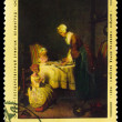 USSR - CIRCA 1974: Stamp printed in USSR, shows Chardin prayer  — Stock Photo