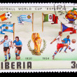 LIBERIA - CIRCA 1982: A post stamp printed LIBERIA, Argentina, I — Stock Photo