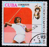 Cuba - circa 1980: een stempel gedrukt in cuba, gewijd aan olympische g — Stockfoto