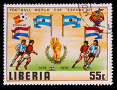 LIBERIA - CIRCA 1982: A post stamp printed LIBERIA, Argentina, N — Stock Photo