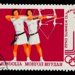 MONGOLIA - CIRCA 1980: A stamp printed in MONGOLIA, Olympic game - Stock Photo