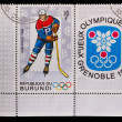 BURUNDI - CIRCA 1968: A post stamp printed BURUNDI, 10 Olympic W — Stockfoto