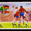 LIBERIA - CIRCA 1974: A post stamp printed LIBERIA, Germany vs C — Stock Photo
