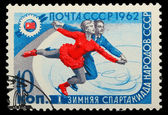 USSR - CIRCA 1962: A stamp printed in USSR, figure skating, firs — Stock Photo