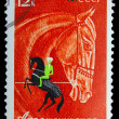 USSR - CIRC1968: stamp printed in USSR, horseback riding, eq — Stock Photo #15921873