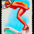 Royalty-Free Stock Photo: USSR - CIRCA 1981: A stamp printed in USSR, swimming, diving, fe