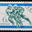 USSR - CIRCA 1970: A stamp printed in USSR, hockey, two athletes — Stock Photo