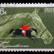 USSR - CIRC1968: stamp printed in USSR, horseback riding, eq — Stock Photo #15924313