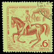 Постер, плакат: USSR CIRCA 1971: A stamp printed in USSR horseback riding eq