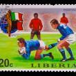 LIBERIA - CIRCA 1974: A post stamp printed LIBERIA, Italy vs. Ha — Stock Photo