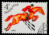 USSR - CIRCA 1982: A stamp printed in USSR, horse riding, jockey — Stock Photo