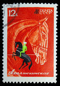USSR - CIRCA 1968: A stamp printed in USSR, horseback riding, eq — Stock Photo