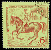 USSR - CIRCA 1971: A stamp printed in USSR, horseback riding, eq — Stock Photo