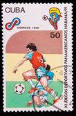 CUBA - CIRCA 1990: A post stamp printed CUBA, Pan American Sport — Stock Photo